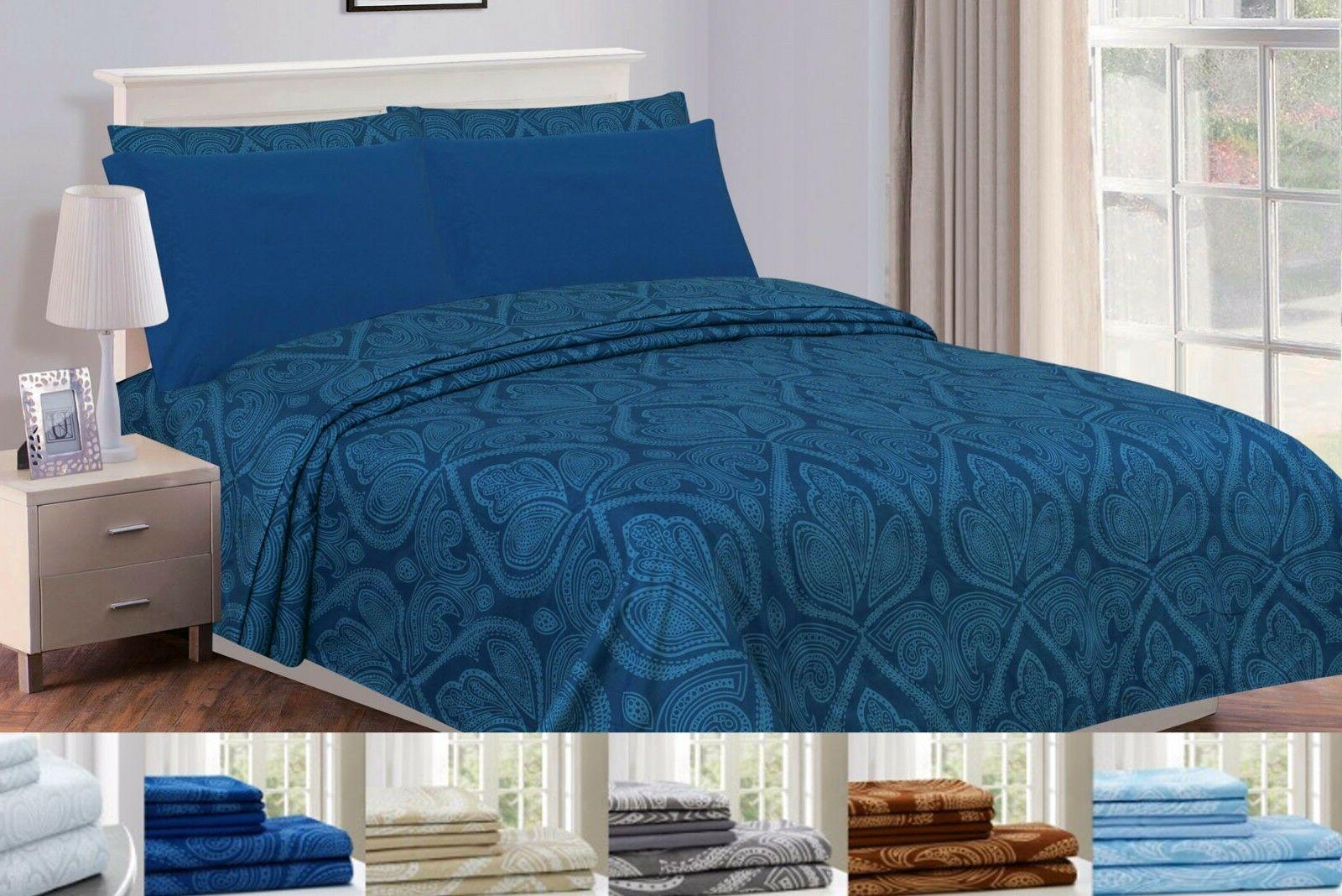 1800 Series Bed Sheet Paisley Printed Egyptian Extremely Dur