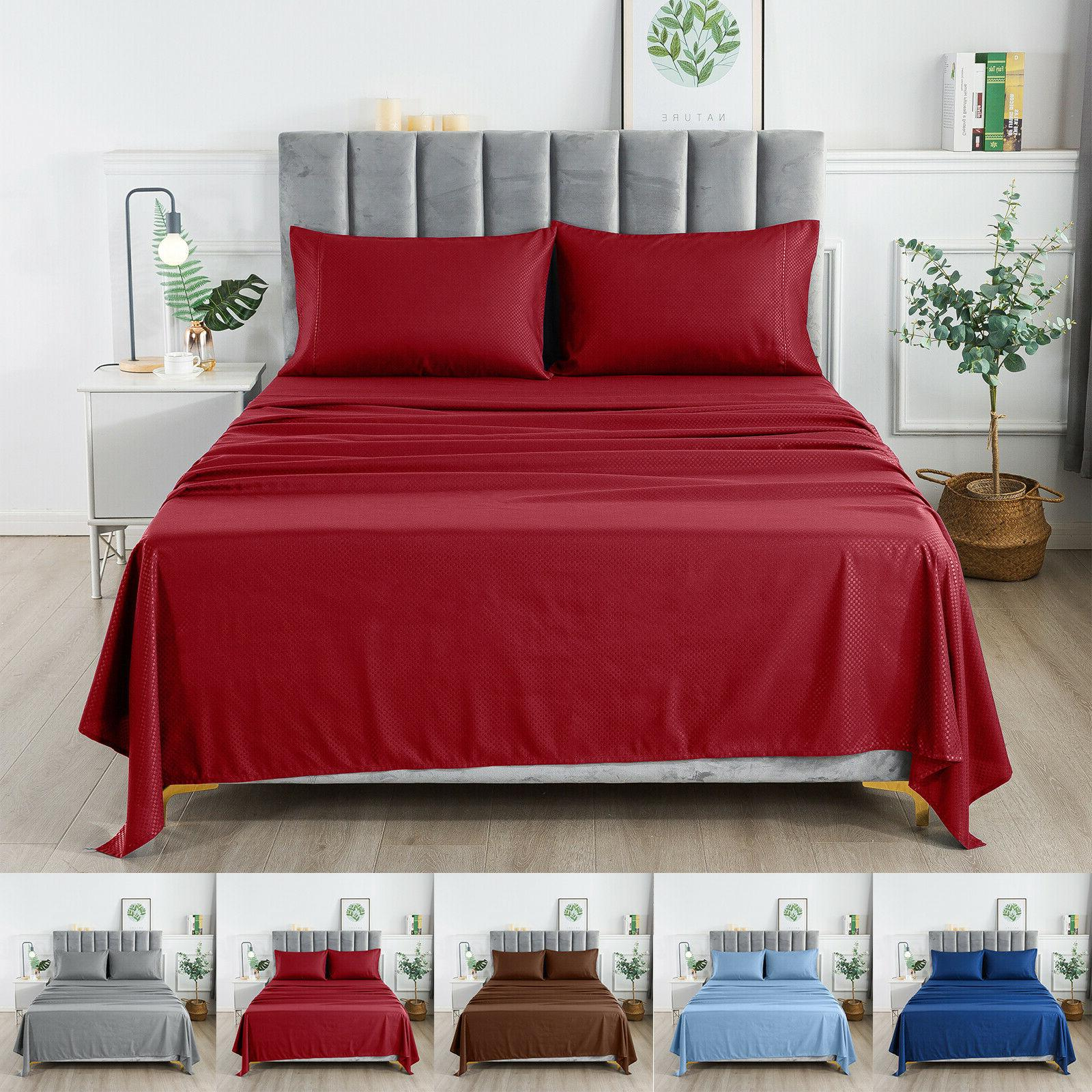 1800 Series Egyptian Checkered Bed Sheet 4 Piece Set - Micro