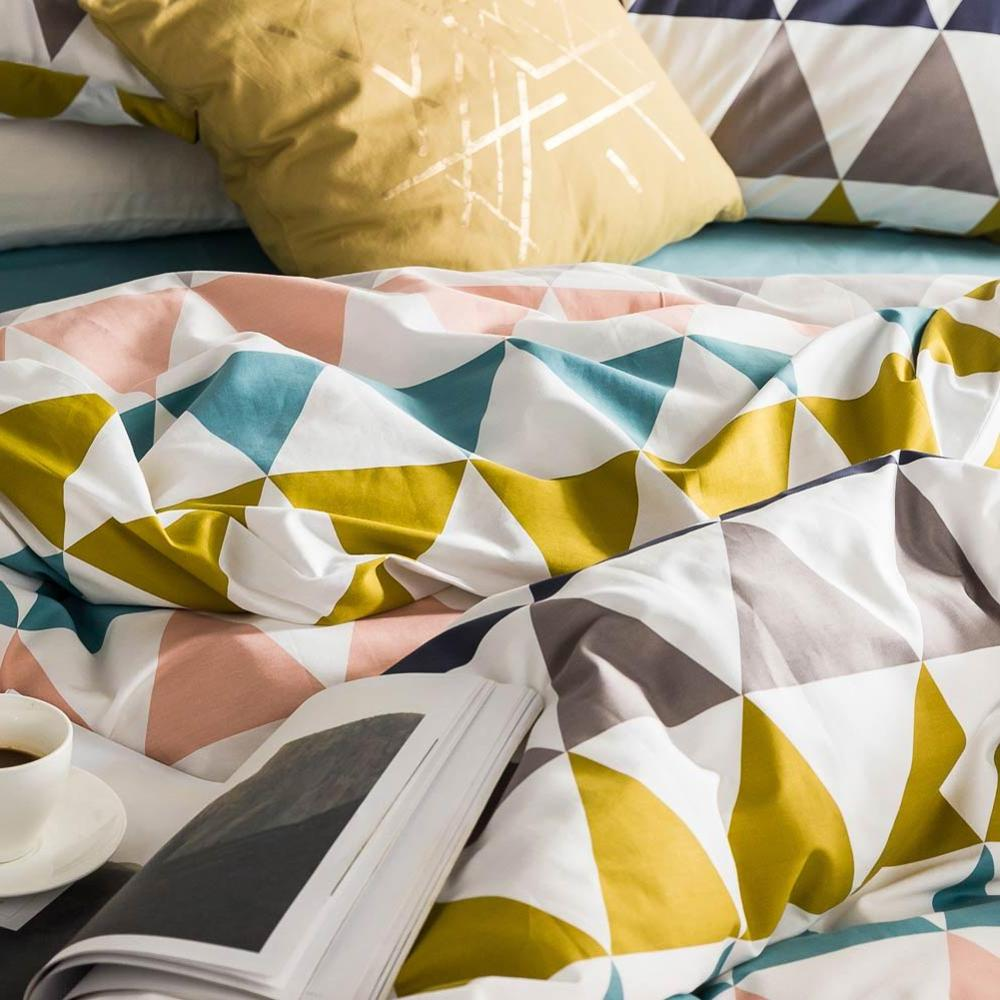 2019 Scandinavian Colorful <font><b>Checkered</b></font> Duvet Cover Fitted Hypoallergenic Twin Bedlinens