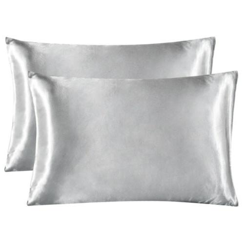 2Pcs Queen Satin Pillowcase Pillow