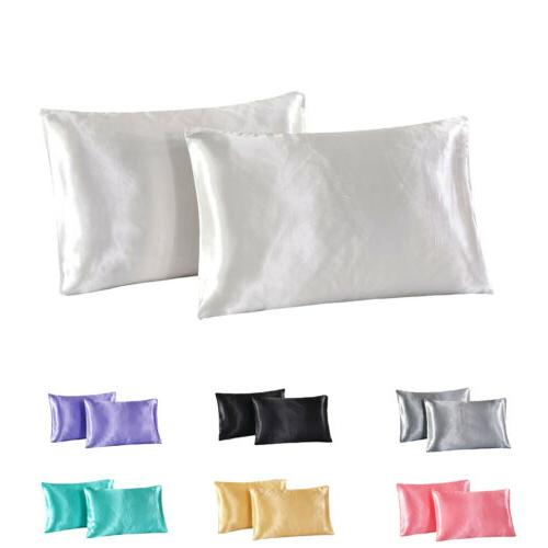 2x Silky Satin Pillowcase US Standard / Queen / King Size Lu