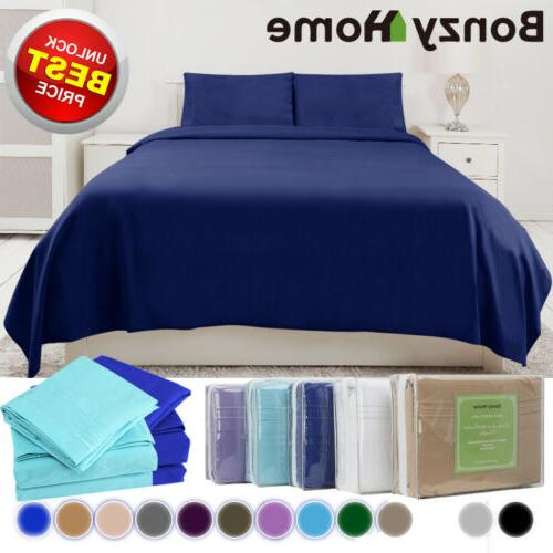 4/6Piece bed Deep Pocket Sheets Queen King Full fitted sheet