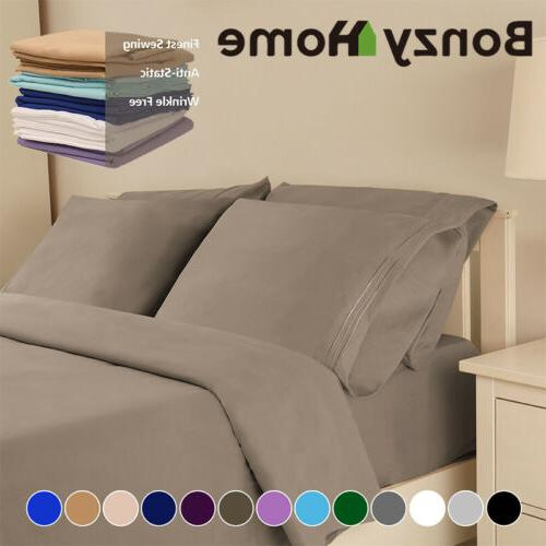 4/6 Piece Set Deep Pocket Queen King Full Bed Sheet