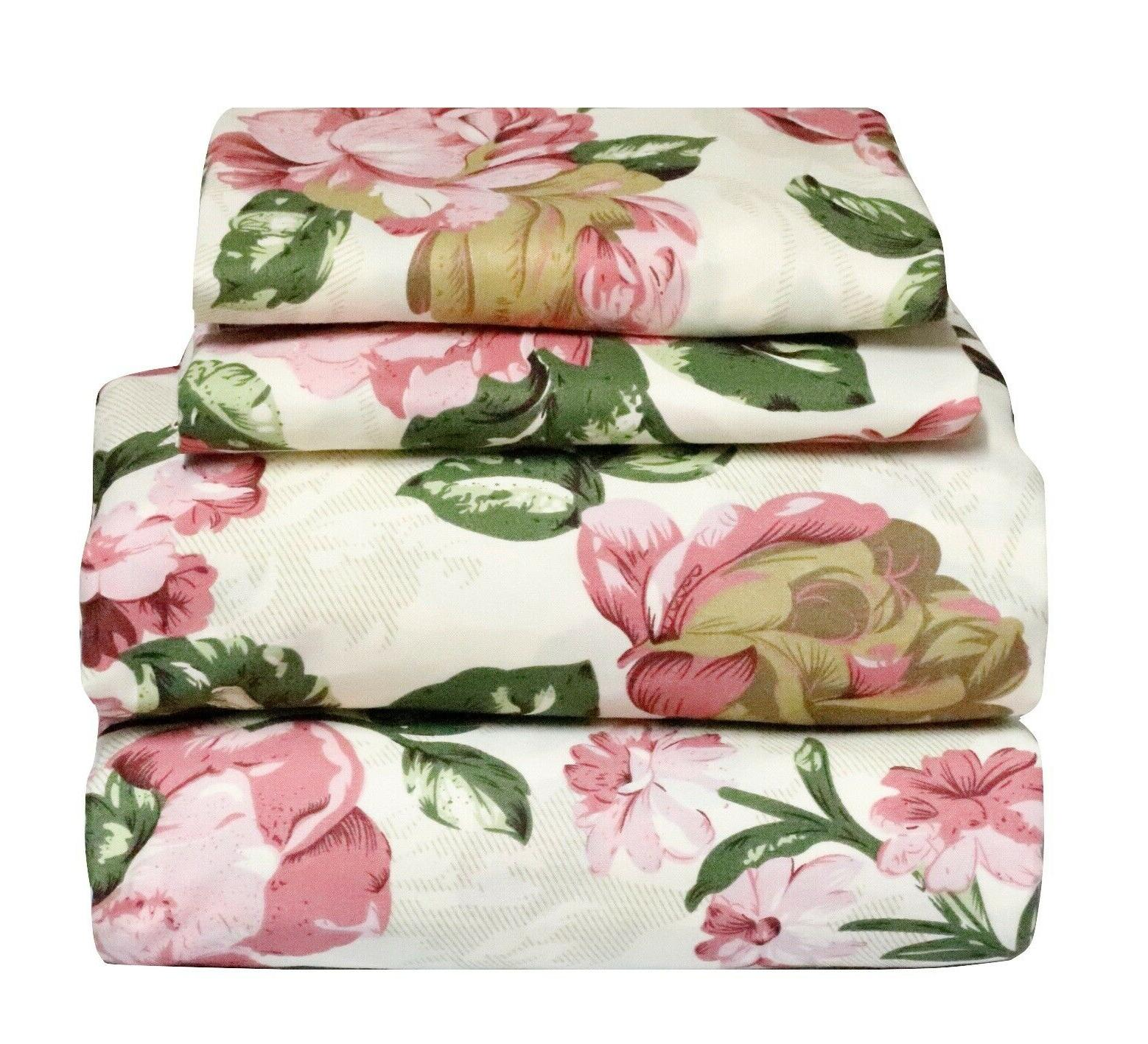 4 pcs floral sheet set flat fitted