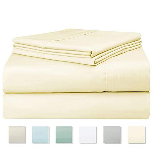 400 6 Set Pillow 100% Staple Cotton Weave Bed Deep Pockets, 6 Queen