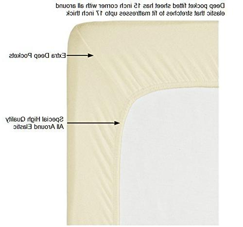 400 Thread Cream 6 Set Pillow 100% Staple Cotton Weave Bed Sheets Deep Pockets, 6 Cotton Queen