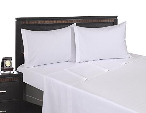 6 Queen Sheet White Percale Hotel Linen