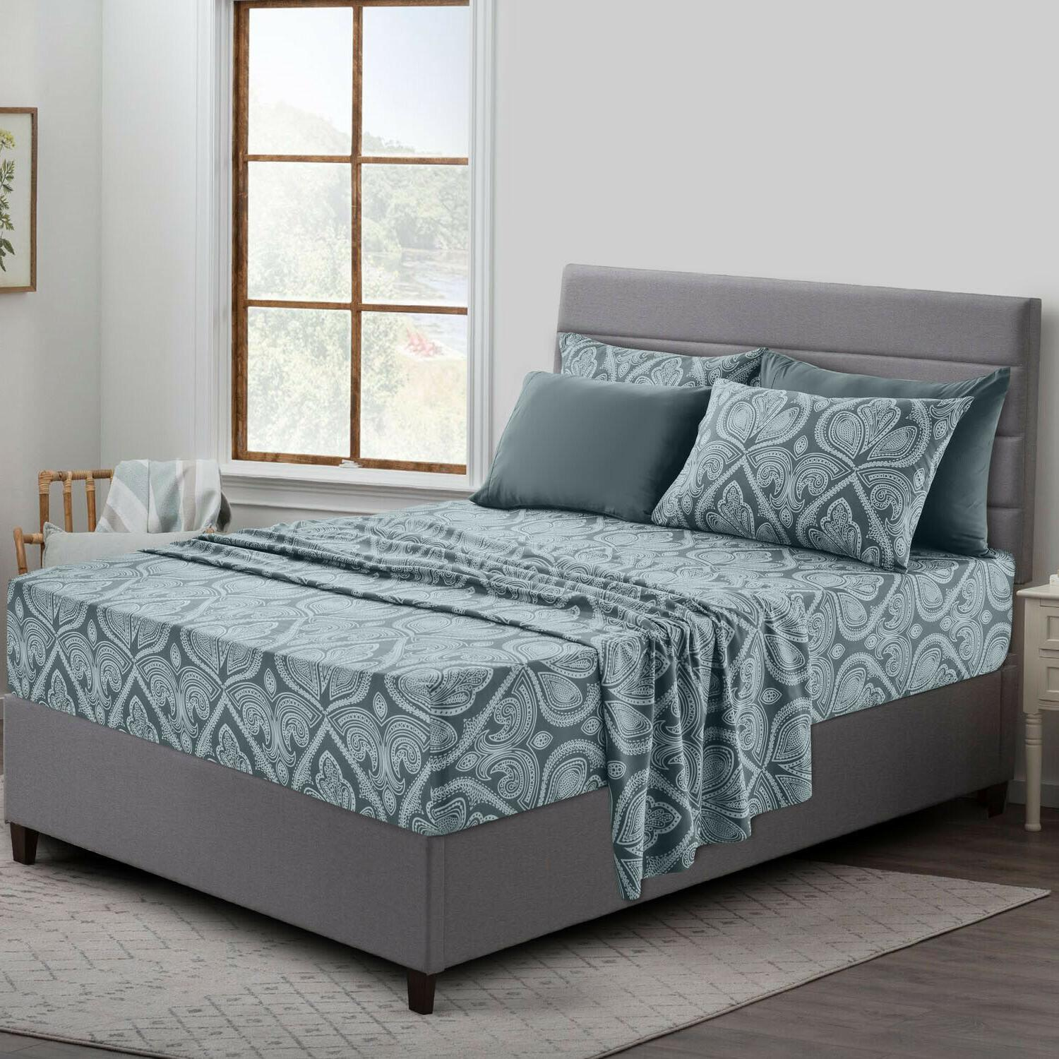 6 piece paisley printed deep pocket bed