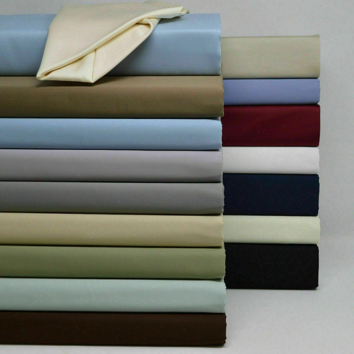 Luxury Pure Cotton Sheets 600 Thread Count Solid Sateen Bed