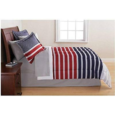 7 Piece Red Boys Rugby Stripes Pattern Queen Comforter Set S