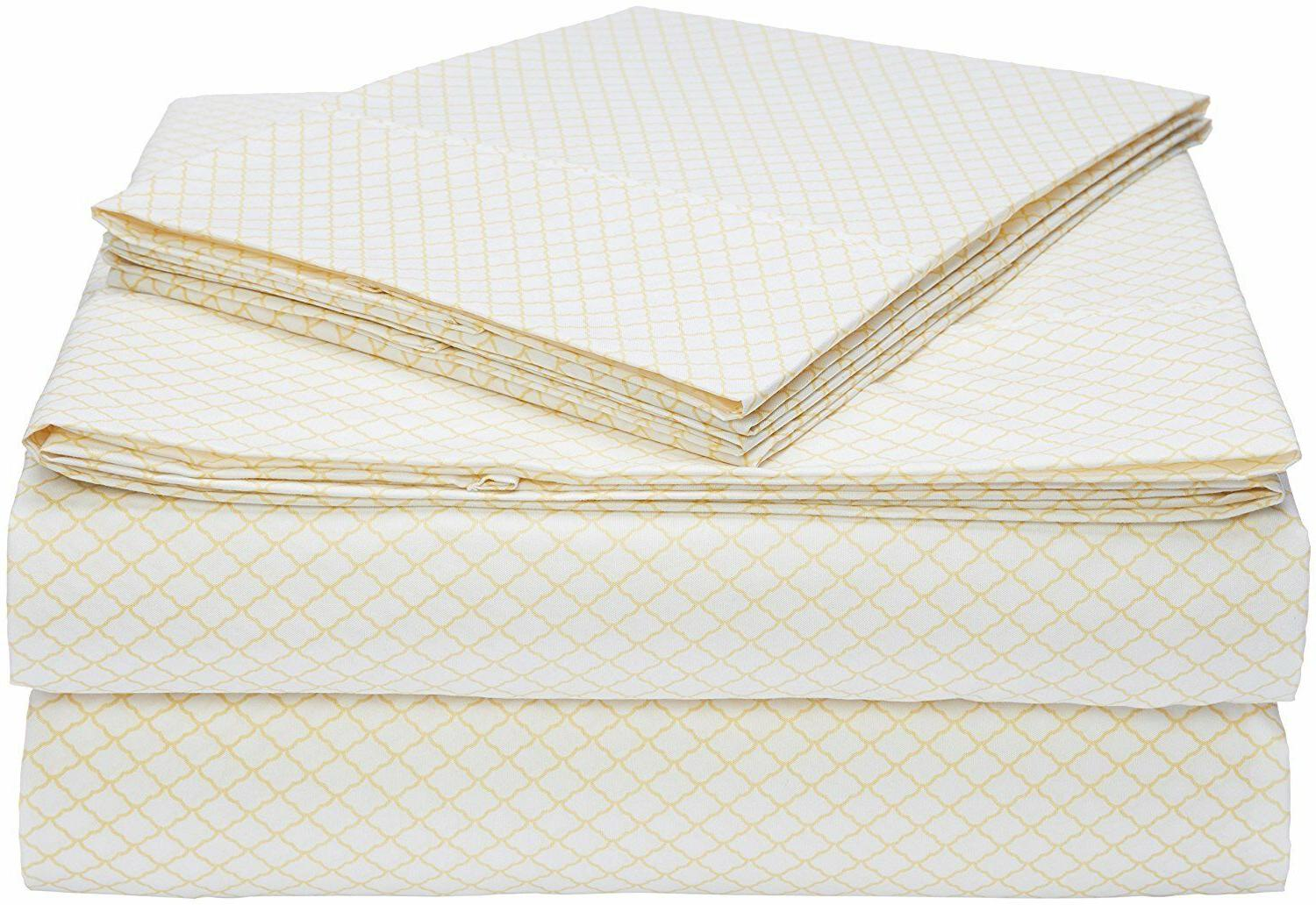 AmazonBasics Microfiber Sheet Set - Queen, Yellow Scallop