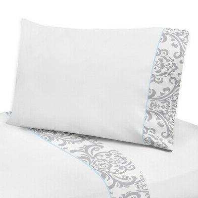 Queen Bed Sheet Set Sweet Jojo Designs White Gray Damask Gir