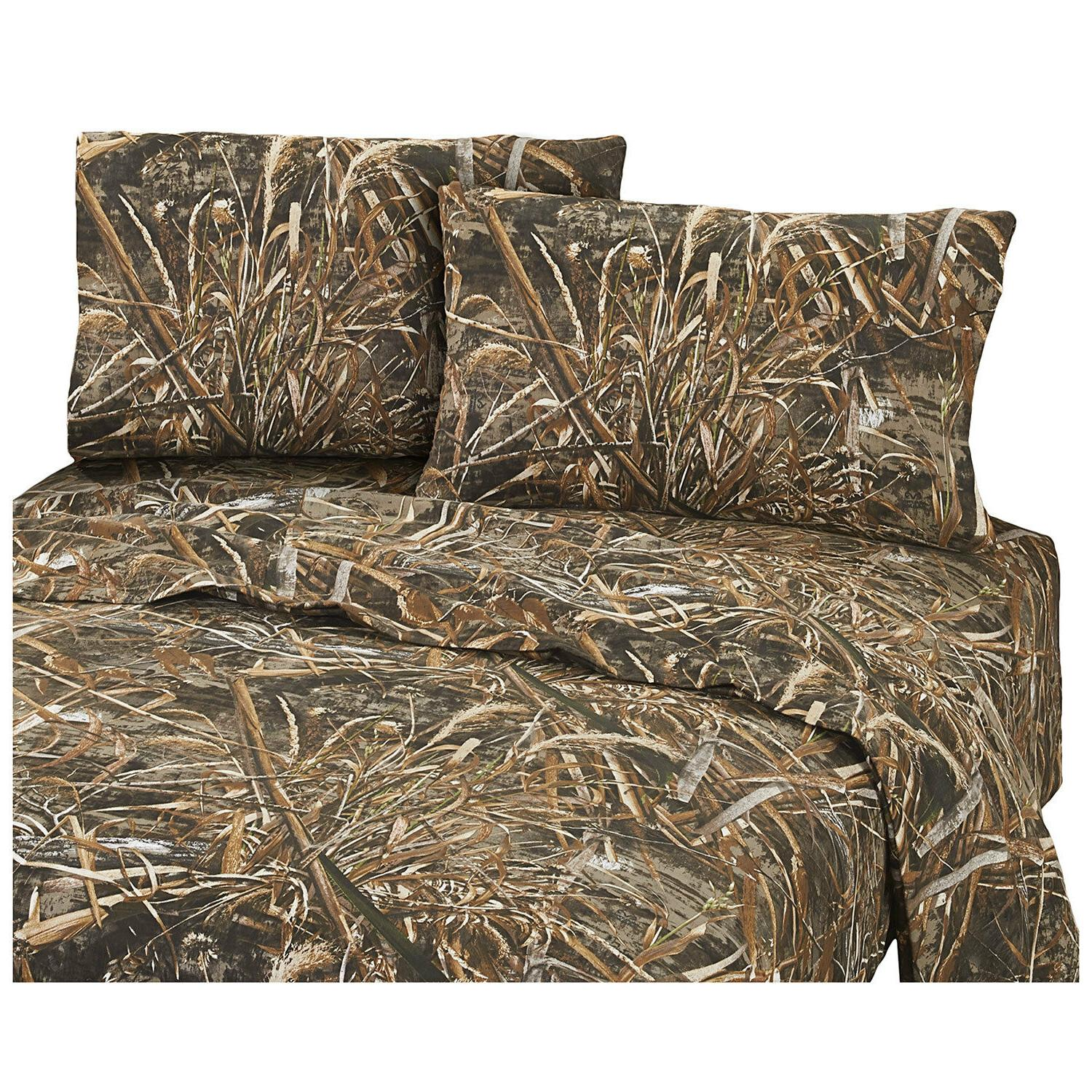 Realtree Max-5 Queen Sheet Set Camo 4pc Grasses Ducks Geese