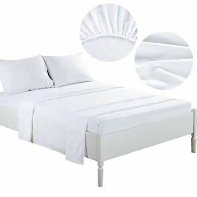 TEKAMON Queen Bed Sheet Set Cooling 100% Microfiber Polyeste