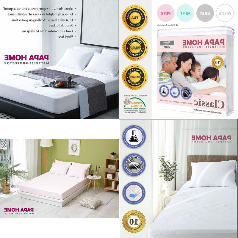 Top Waterproof Bed Cover Queen Size Fitted Sheet Protector P