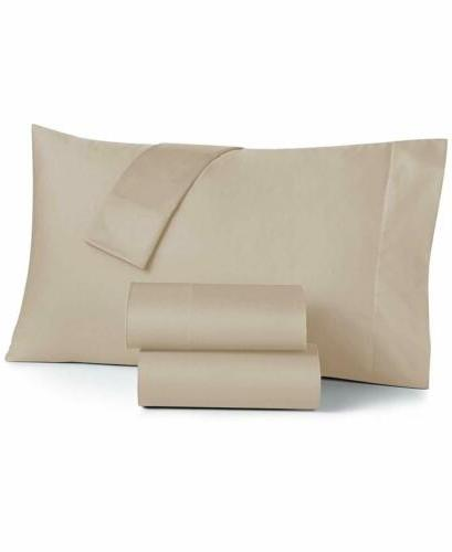 AURAA 500 TC Reversible 4 Pc Queen Sheets Bedding, Taupe