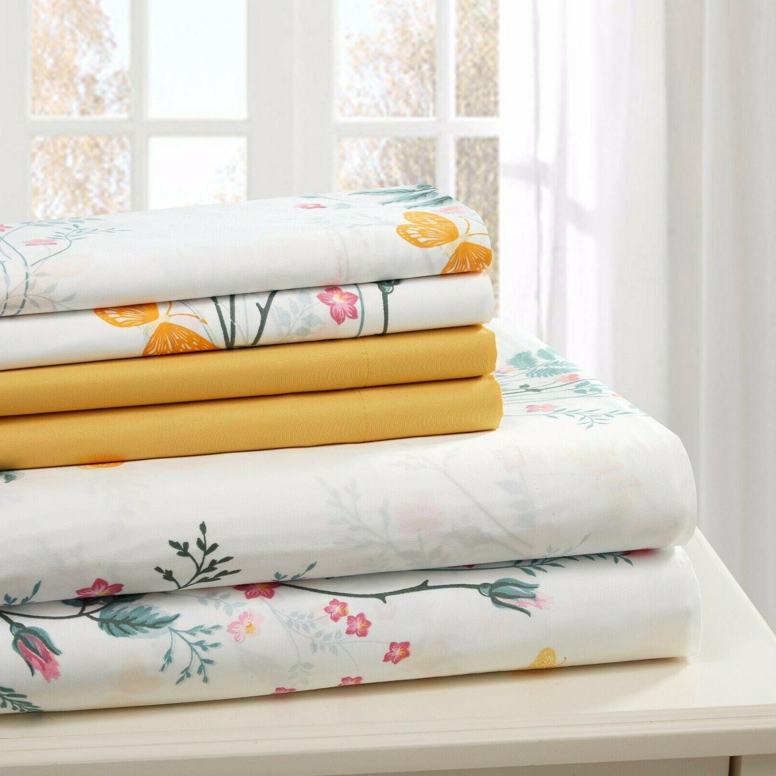 COTTON PERCALE SHEET SET PRINTED SOFT TWIN FULL FREE WASH