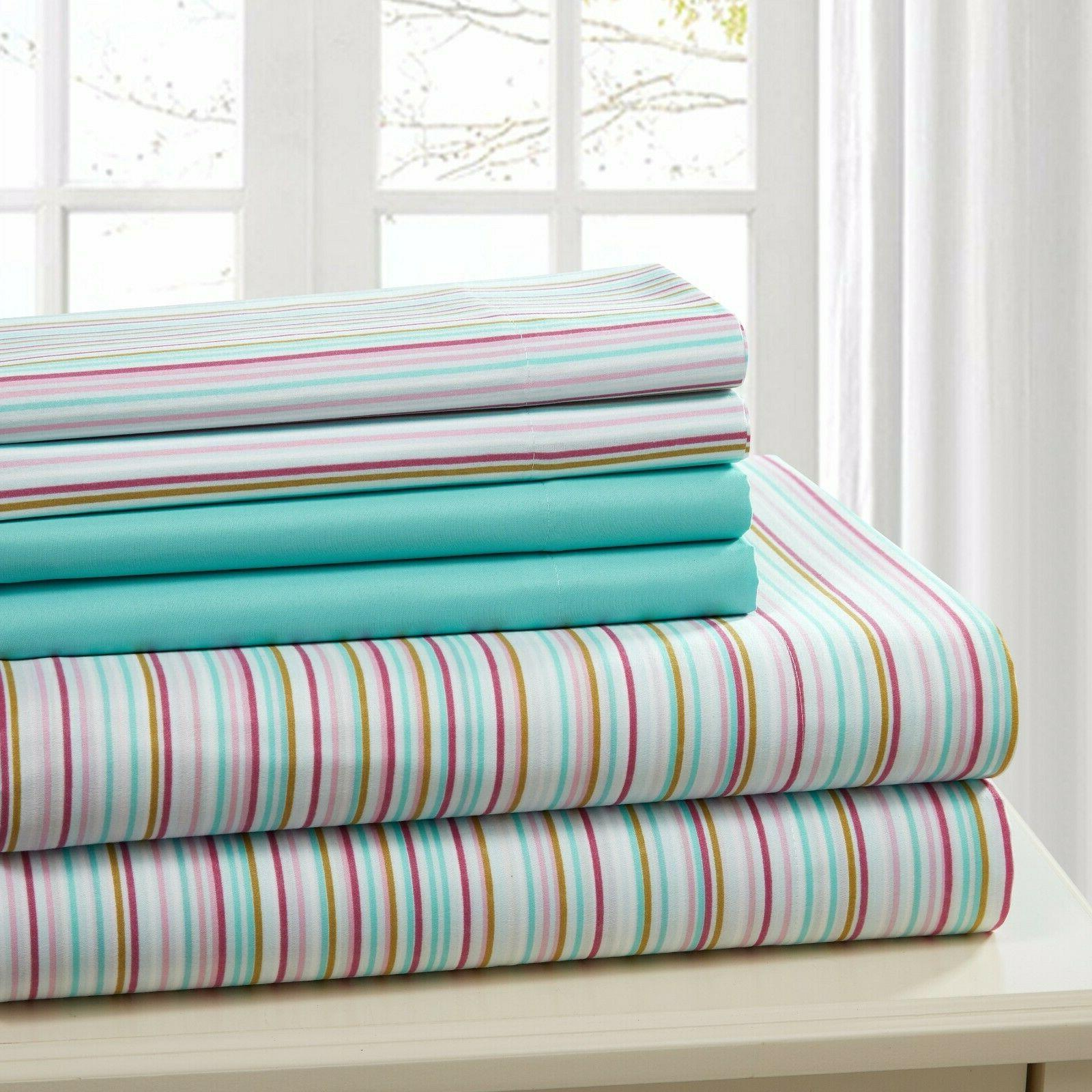 SHEET SET QUEEN 6 PIECE COTTON PERCALE PRINT SOFT DEEP POCKE