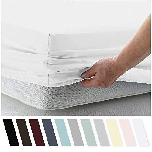 aashirainwear Sheet Set 100% Cotton 400-Thread-Count Queen Size White Solid