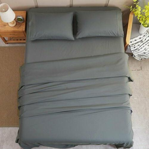 Bed Pillow 4pc Utopia Grey