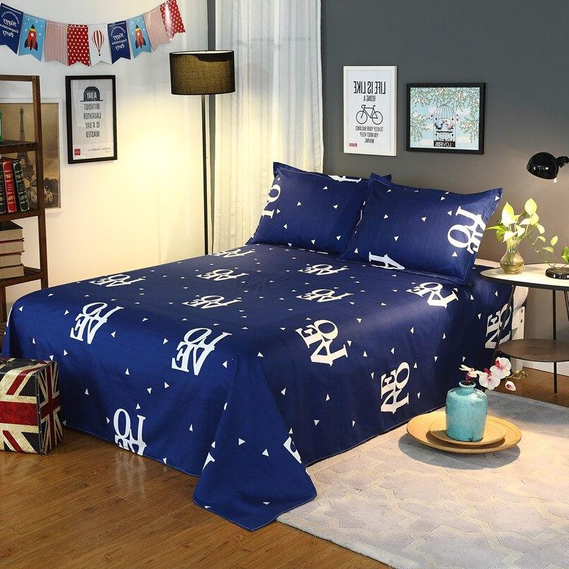 Blue 3 King Bed <font><b>Sheet</b></font> <font><b>Queen</b></font> Letter Flat with Pillowcase42