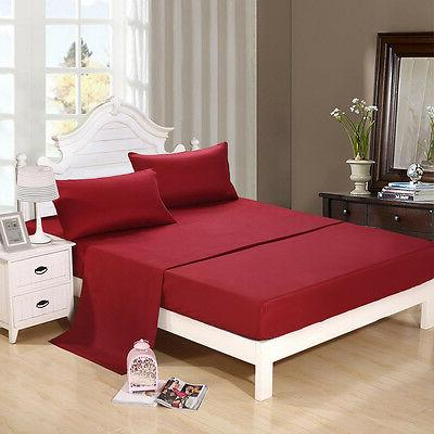 Burgundy 5 Sizes Twin Queen California King Full Size Bed Sh