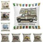 Chic Home Decor Ornate HAPPY CAMPERS Sofa Waist Throw Cushio