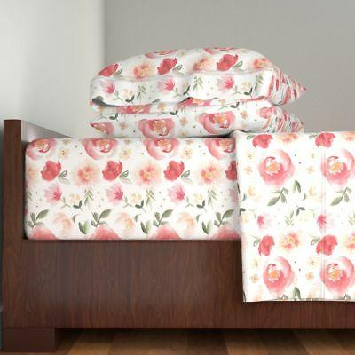 Coral Large Floral Painted Flowers 100% Cotton Sateen Sheet