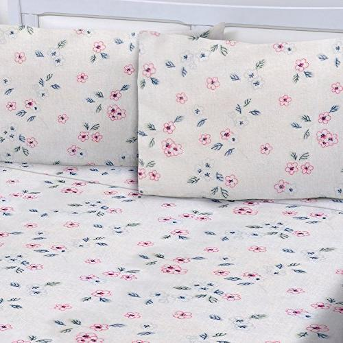 cotton printed flannel sheets set