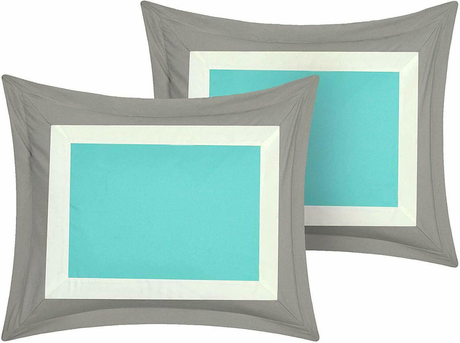 Chic Home Duke Piece Complete Block Bed Queen Turquoise Microfiber