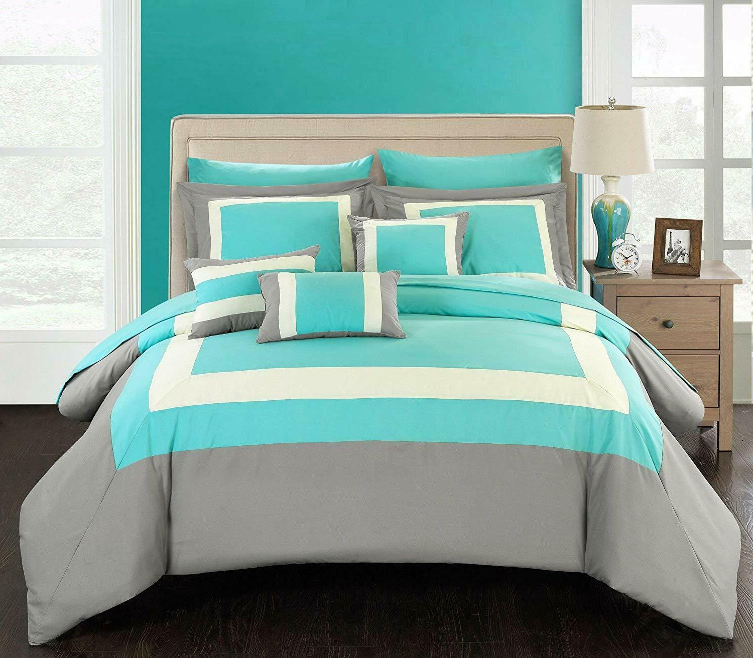 Chic Home 10 Piece Complete Block Bed Turquoise 100% Microfiber
