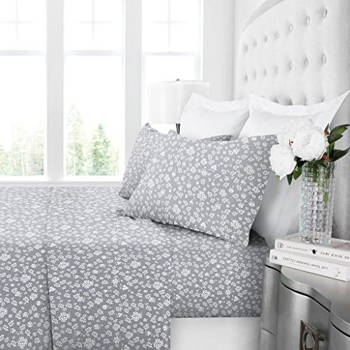 Egyptian Series Hotel Collection Basic Pattern Sheet - Deep Pockets, and Sheet Pillowcase - Queen - Gray/White