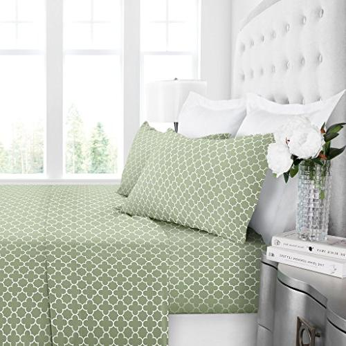 Egyptian 1600 Hotel Collection Clover Pattern Bed Sheet Deep Fade and Pillowcase Set Queen - Sage/White