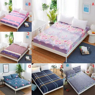 Floral Printed Fitted Twin King Bed Soft Cover Cotton Pad