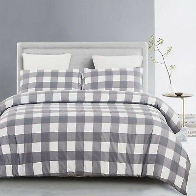lightweight microfiber duvet cover set grid pattern