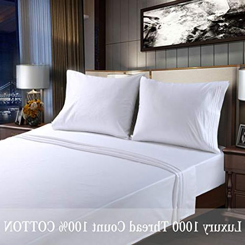 """EMONIA True Egyptian Cotton High 1000 Thread Sheets Pieces Bed 12"""" Inches Deep Hotel Fade Resistant"""