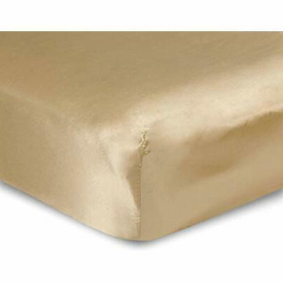 luxury queen size satin fitted sheet gold