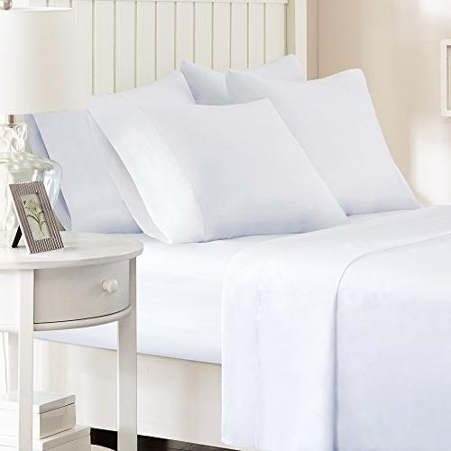 Comfort Spaces Hypoallergenic Microfiber Sheet Set - 6 - Stain - Includes Fitted 4 Pillow
