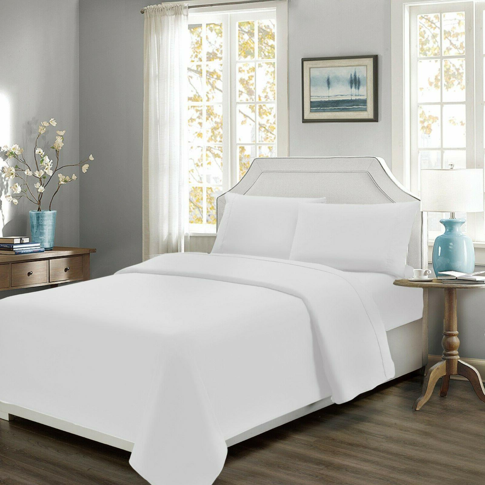 Mellanni Percale Cotton Bed Sheet Set 300 ThreadCount Deep P