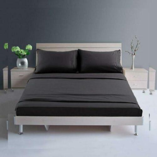 TEKAMON Piece Bed Sheet Set Bedding 100% Dark Grey