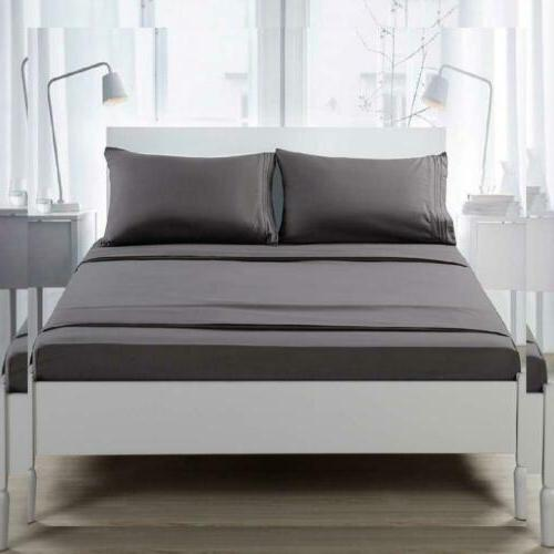TEKAMON Premium 4 Bed Sheet 1800 Bedding Queen, Grey