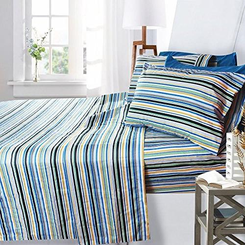 Printed Queen Size Striped - By 6 Piece 100% Brushed With Pocket Sheet, 1800 Collection, Hypoallergenic,