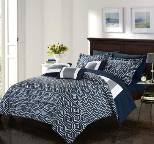 Queen King Set Bedding Navy Bedspread Reversible Sheets PC