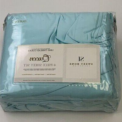 queen sheet set turquoise 1800 thread count