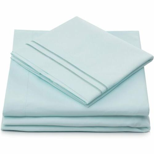 Queen Size Bed Set Brushed Bedding 4 Bed Linens KING