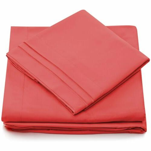 Queen Set Microfiber Bedding 4 Pcs Bed Linens KING