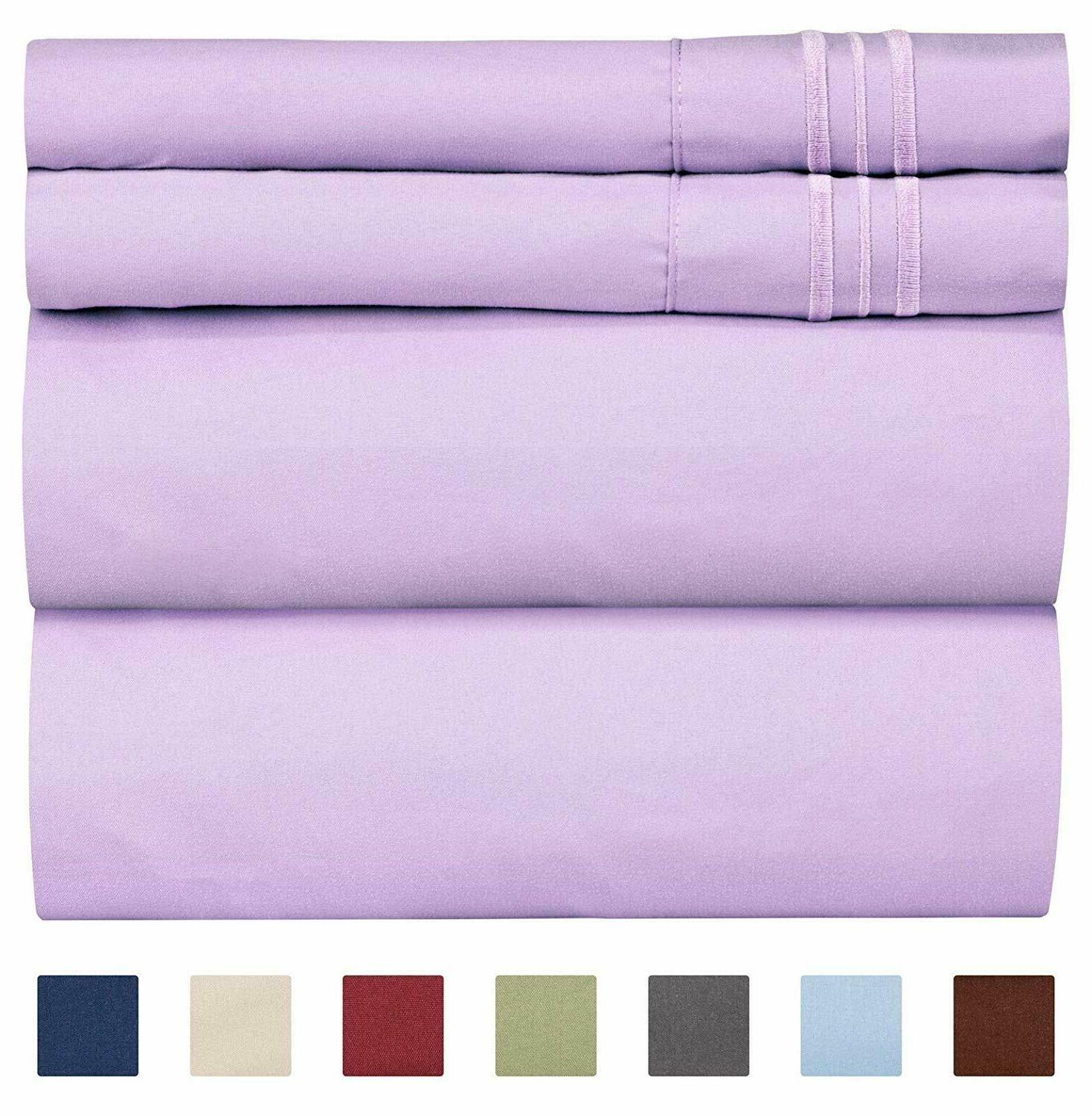 Queen Size Sheet Wrinkle Bed Sheets Home 4 Pcs