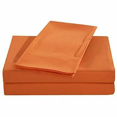 Sheets & Pillowcases Microfiber Bed Set, Orange Home Kitchen