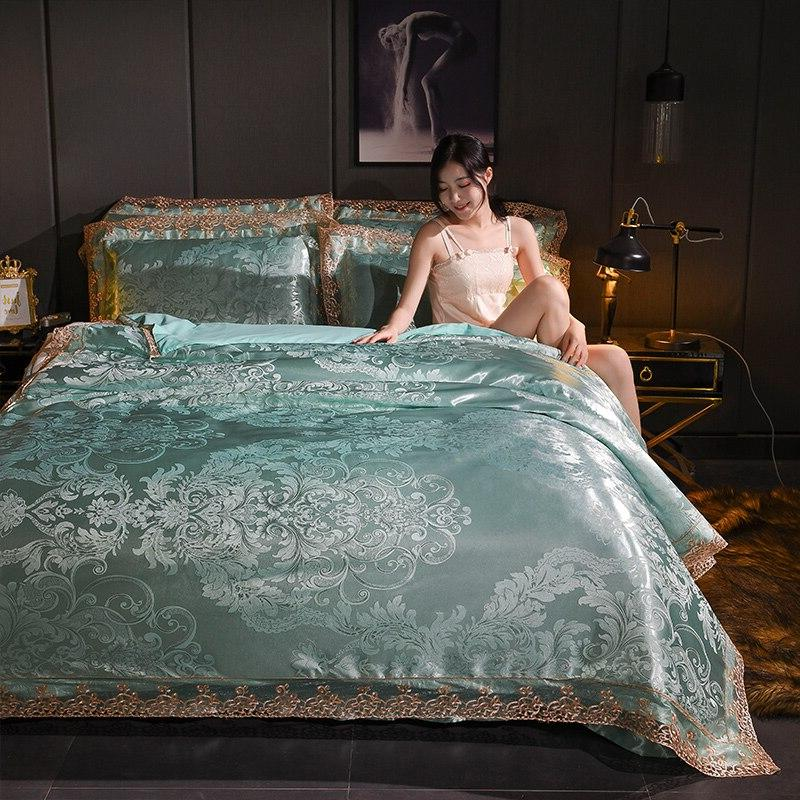 Luxury Euro Satin Cover Double Flat Bedspread King Linen Bedclothes