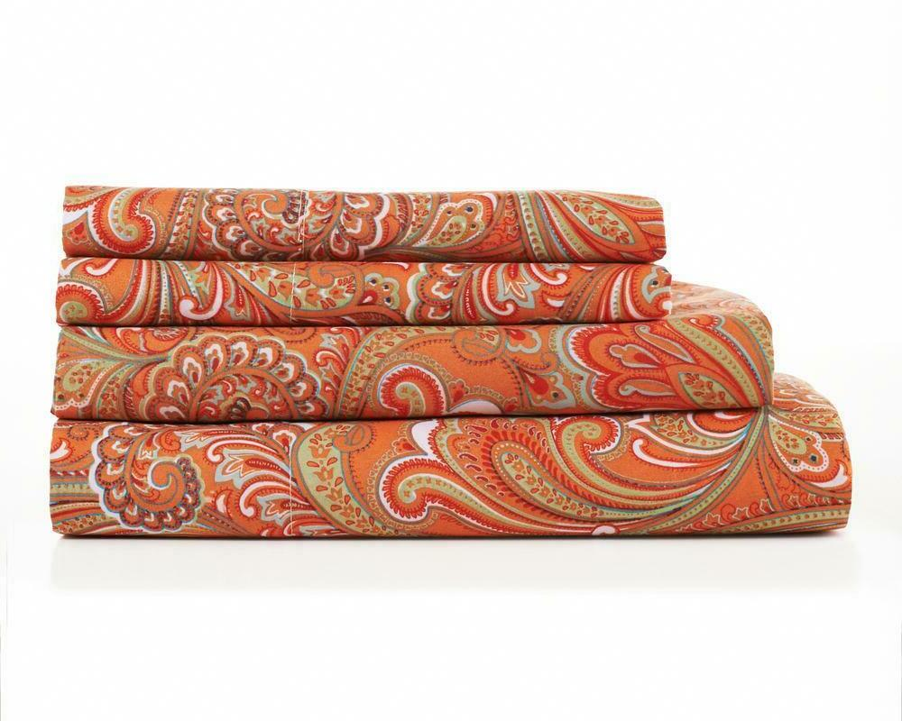 Hotel Collection Soft Paisley Orange Print Pattern 4 Piece S